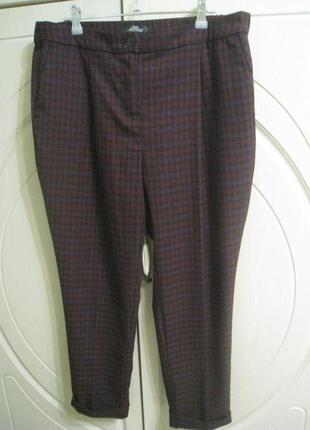 Женские свободные  брюки штаны  в клетку  с высокой посадкой, ...