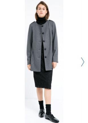 Стильное серое пальто - пиджак, Mango, демисезон, размер L