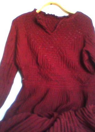 Платье пр-во СССР винтажное шерстяное вязаное