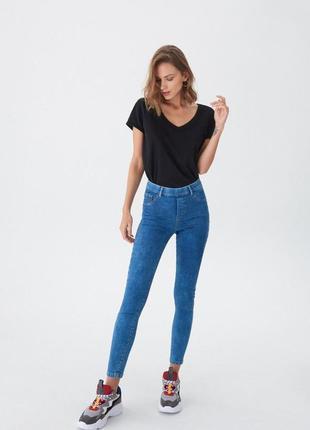 Джинсовые джеггенсы,высокая талия,джинсы на резинке,скинни  от...