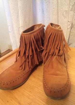 Стильные ботинки,эко замша,мокасины с бахромой,от бренда super...