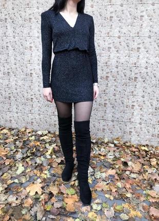 Платье женское мини черное с блестками