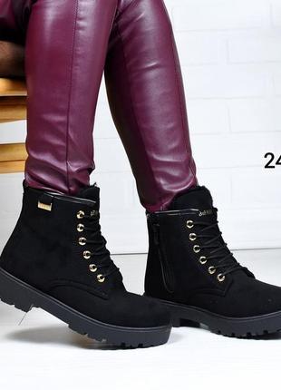 Женские черные ботинки зимние на меху