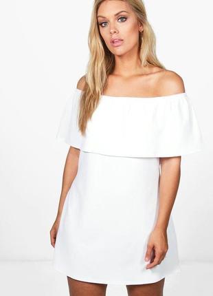 Белое платье спущенные плечи plus size батал boohoo
