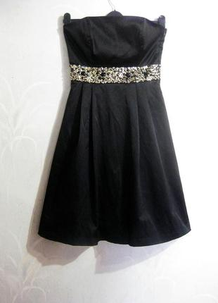 Платье zara чёрное вечернее выпускное бисер камни стразы