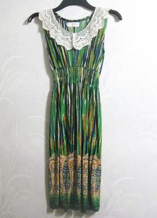 Платье сарафан mizumi зелёное разноцветное полоска воротник бе...