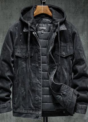 Осенняя/весенняя джинсовая куртка со съемным утеплением с капюшон