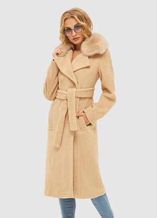 Шикарное теплое молочное пальто тэдди с мехом