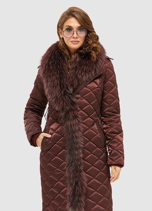 Шикарный зимний бордовый пуховик плащ марсала с мехом
