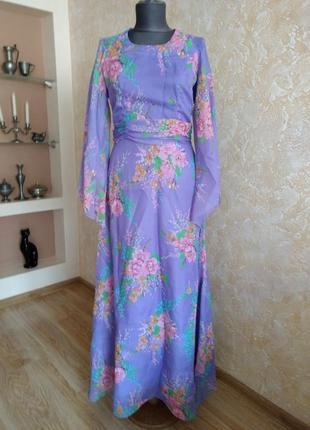 Винтаж! яркое длинное  платье в пол