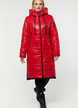 Зимний красный пуховик куртка большие размеры
