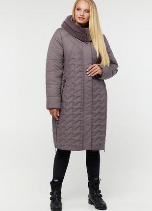 Теплая зимняя куртка пуховик какао большие размеры