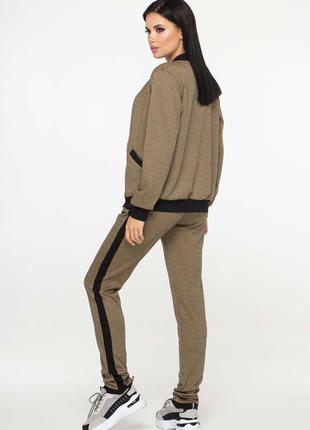 Стильный бежевый костюм гусиная лапка