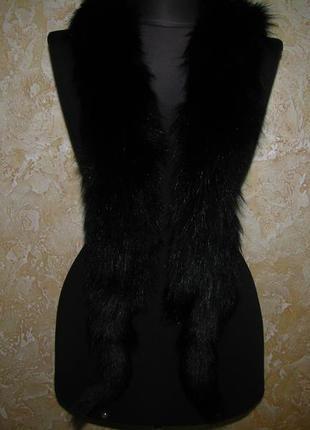 Длинный воротник из натуральной лисы