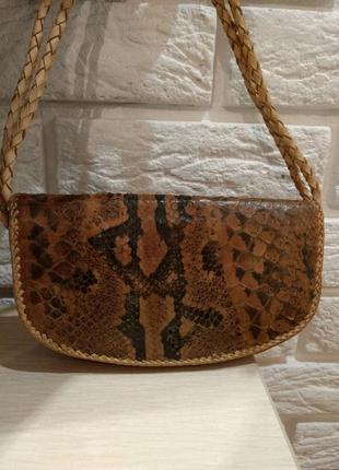 Кожаная сумка на плечо натуральная змея