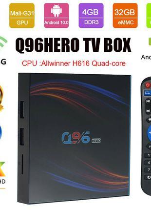 ТВ приставка, медиаплеер, Smart TV Q96HERO Android 10.0 TV Box 4G
