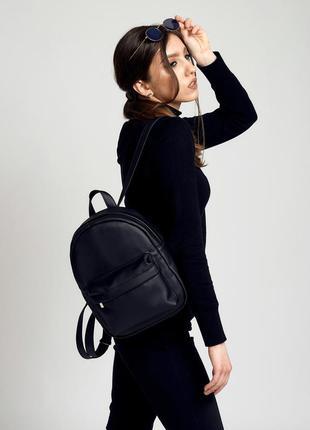 Городской молодежный стильный черный рюкзак, эко кожа