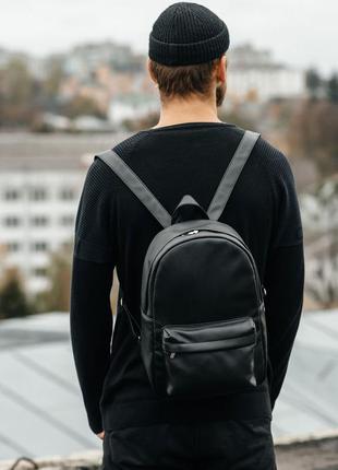Стильный мужской вместительный, прочный черный  рюкзак