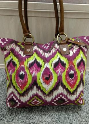 Большая сумка шоппер butterfly кожа и ткань