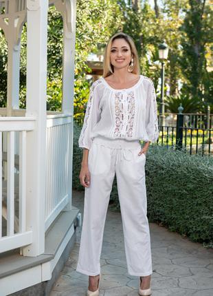 Белые брюки из льна AnastaSea 21A-248/1 L