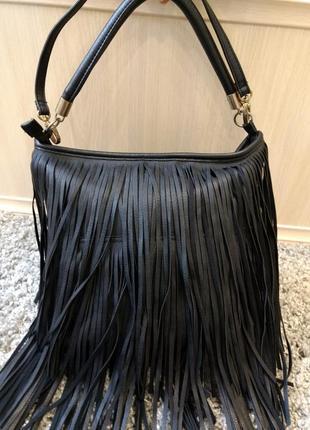 Модная вместительная сумка с бахромой h&m