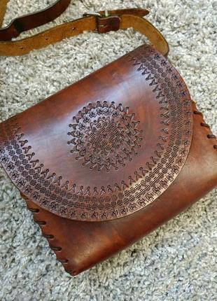 Кожаная сумка в этно стиле ручная работа