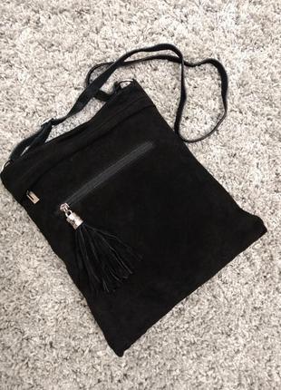 Новая замшевая сумка на плечо borse in pelle