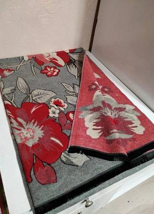 Шикарный женский теплый зимний двусторонний шарф палантин с цв...