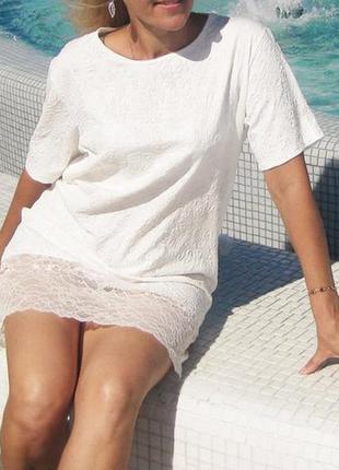 Платье actrees белое фактурное с коротким рукавом ажурное гипю...
