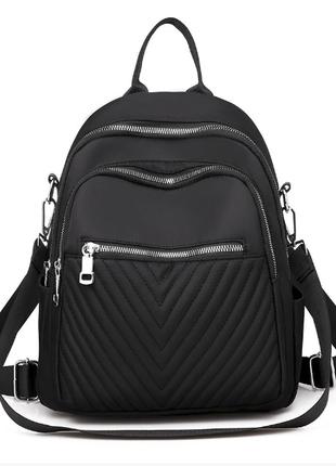 Рюкзак женский черный небольшой из нейлоновой ткани