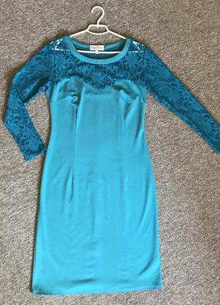 Плаття міді з мереживими вставками,48 розмір, платье миди