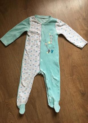 Теплый человечек/пижама/слип на кнопках на 9-18 месяцев