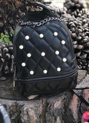 Маленький кожаный рюкзак в стиле сhаnеl чёрный сумка кроссбоди...