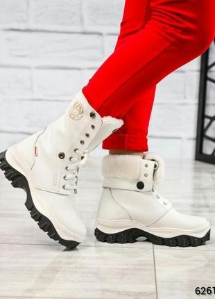 ❤ женские белые зимние высокие кожаные ботинки сапоги ботильон...