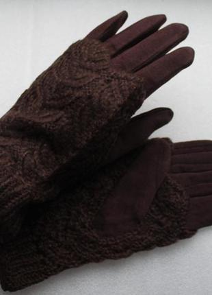 Стильные перчатки с митенками, темно-коричневые