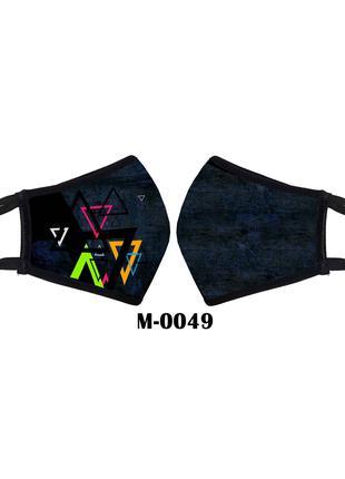 маска защитная многоразовая треугольники. фигуры