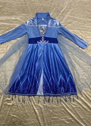 Шикарное яркое карнавальное платье костюм эльза из холодного с...