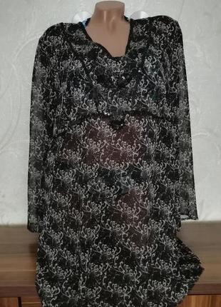 Пляжная туника-платье, длинный рукав
