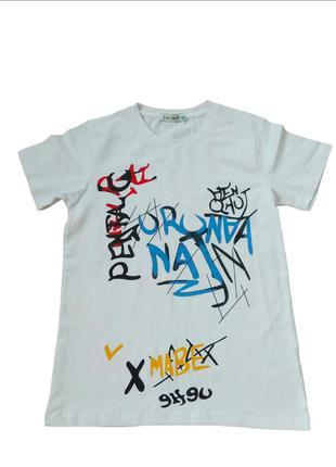 Белая футболка для подростка мальчика. турция