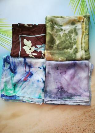 Шелковые платки, натуральный шелк, ручная работа, 84х90