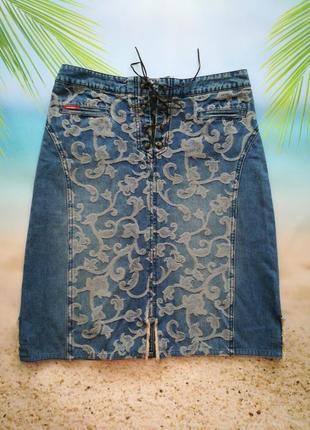 Акция! классная джинсовая юбка, модная шнуровка