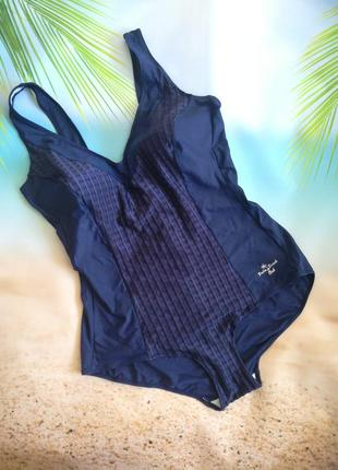 Сдельный темно-синий купальник с утяжкой palm beach club