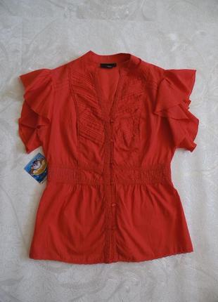 Блузка на пуговицах кораллового цвета с коротким рукавом