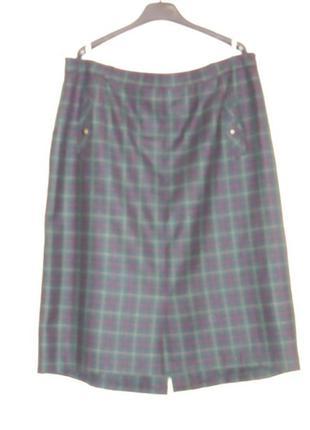 Классная шерстяная юбка в клетку с карманами sylbo