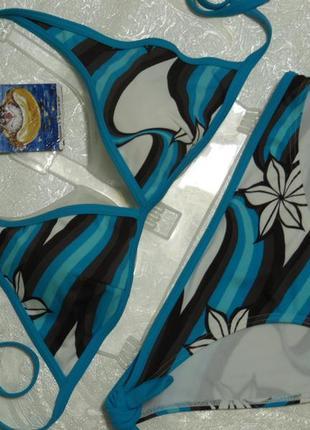 Красивый раздельный купальник голубой с коричневым