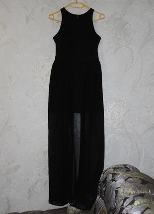 Суперовое мини платье с шифоновой юбкой в пол