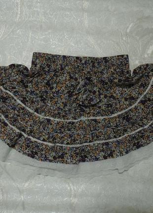 Молодежная короткая юбка солнце с воланами