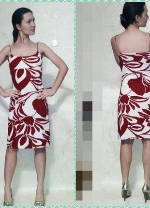 Красно-белое открытое платье на тонких бретелях