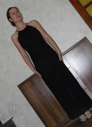 Шифоновое длинное черное платье с разрезом style collection