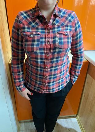 Levis рубашка женская клетчатая рубашка в клетку ливайс